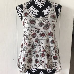 red white and blue floral tank top